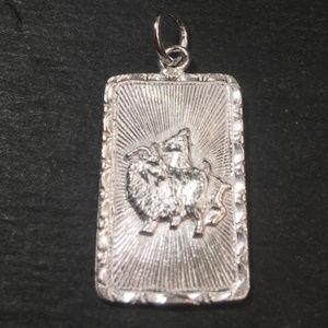 "Silver ""Lucky"" &  Goat Sheep Zodiac Charm Pendant"